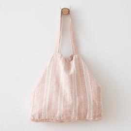 Strandtaske i hør, lyserød, Multistripe