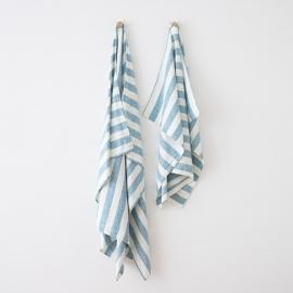 Strandhåndklæde i hør, marineblåt, Philippe
