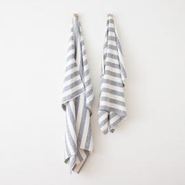 Strandhåndklæde i hør, indigo, Philippe