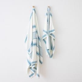 Strandhåndklæde i hør, marineblåt, Tuscany