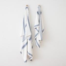 Strandhåndklæde i hør, indigo, Tuscany