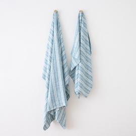 Strandhåndklæde i hør, marineblåt, Multistripe