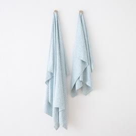 Strandhåndklæde i hør, marineblåt, Brittany
