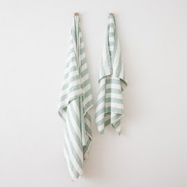 Strandhåndklæde i hør, aqua foam, Philippe