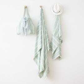 Strandtaske i hør, aqua foam, Multistripe