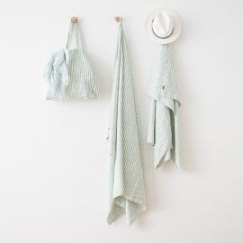 Strandhåndklæde i hør, aqua foam, Brittany