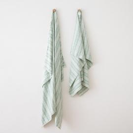 Strandhåndklæde i hør, indigo, Multistripe