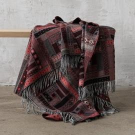 Tæppe i merinould, rødt-sort, Marta