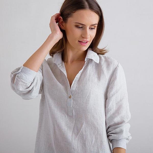 Sølv Pinstripe Pyjamas i Hør Alma LinenMe