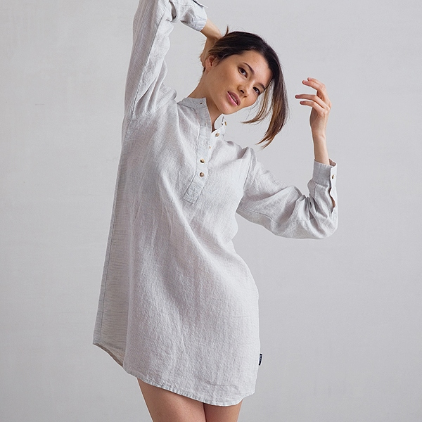 Sølv Pinstripe Natskjorte i Hør Alma LinenMe