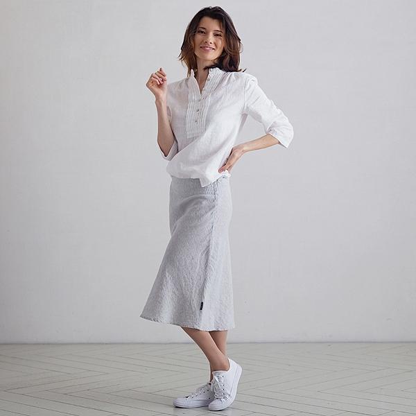 Sølv Melange Nederdel i Hør Alma LinenMe