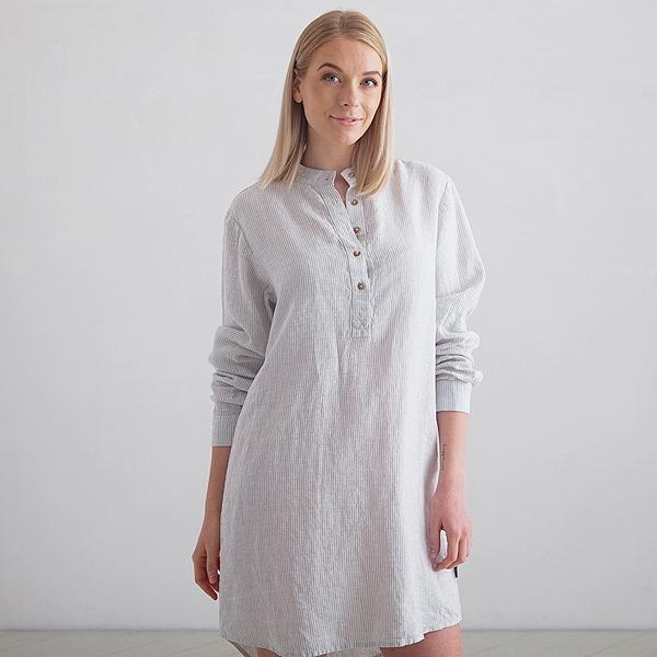 Sølv Stribet Natskjorte i Hør Alma LinenMe